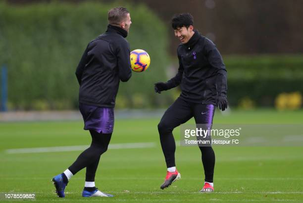 HeungMin Son and Toby Alderweireld of Tottenham Hotspur during the Tottenham Hotspur training session at Tottenham Hotspur Training Centre on...
