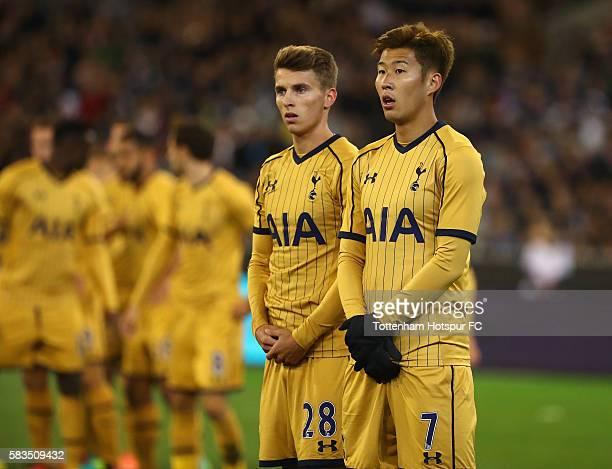 HeungMin Son and Tom Carroll of Tottenham Hotspur look on during the 2016 International Champions Cup match between Juventus FC and Tottenham Hotspur...