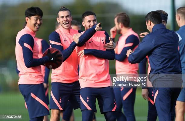 Heung-Min Son, Gareth Bale and Matt Doherty of Tottenham Hotspur during the Tottenham Hotspur training session at Tottenham Hotspur Training Centre...