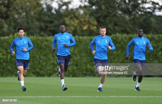 HeungMin Son Moussa Sissoko Eric Dier and Davinson Sanchez of Tottenham during the Tottenham Hotspur training session at Tottenham Hotspur Training...