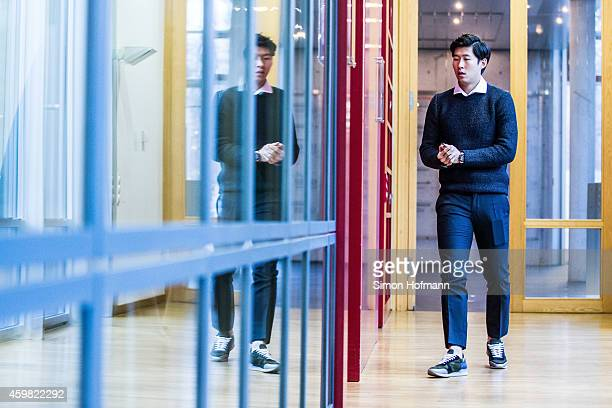 HeungMin Son of Bayer Leverkusen arrives prior to the decision of DFB Court on the objection to the length of a 3 match ban in the DFB Cup which was...
