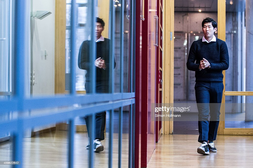 Heung-Min Son of Bayer Leverkusen arrives prior to the decision of DFB Court on the objection to the length of a 3 match ban in the DFB Cup which was given after Son was shown a red card for violent conduct at DFB Headquarter on December 2, 2014 in Frankfurt am Main, Germany.