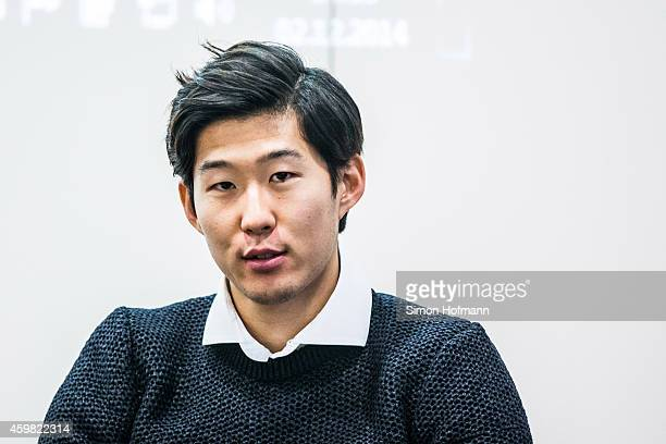 HeungMin Son of Bayer Leverkusen looks on prior to the decision of DFB Court on the objection to the length of a 3 match ban in the DFB Cup which was...