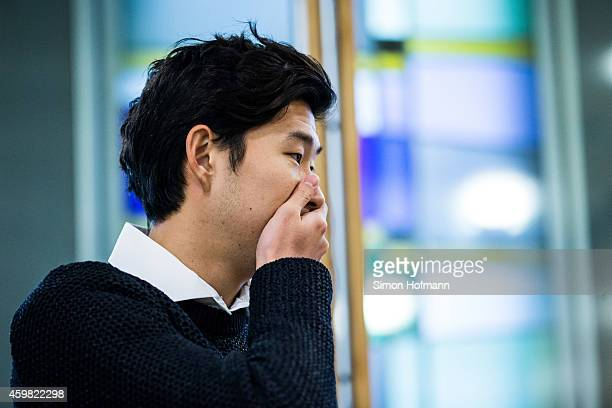 HeungMin Son of Bayer Leverkusen reacts prior to the decision of DFB Court on the objection to the length of a 3 match ban in the DFB Cup which was...