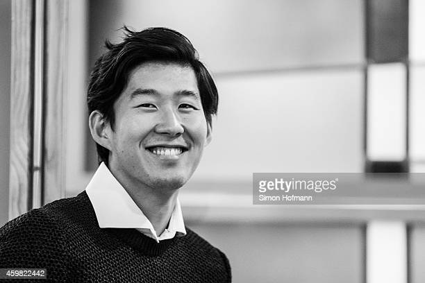 HeungMin Son of Bayer Leverkusen smiles prior to the decision of DFB Court on the objection to the length of a 3 match ban in the DFB Cup which was...