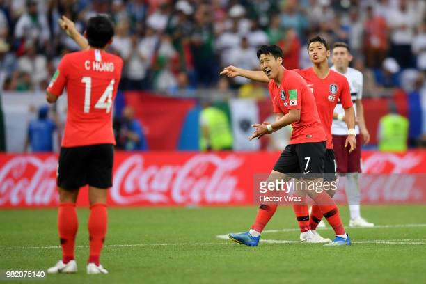 Heungmin Son of Korea Republic celebrates after scoring his team's first goal during the 2018 FIFA World Cup Russia group F match between Korea...