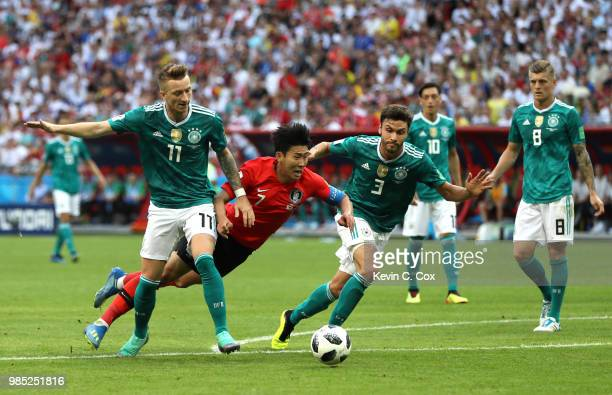 Heungmin Son of Korea Republic goes down inside the penalty area during the 2018 FIFA World Cup Russia group F match between Korea Republic and...