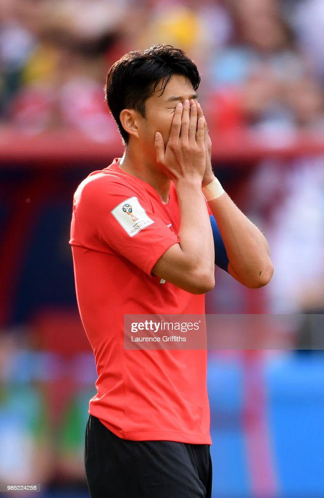 Heungmin Son of Korea Republic reacts during the 2018 FIFA World Cup Russia group F match between Korea Republic and Germany at Kazan Arena on June 27, 2018 in Kazan, Russia.