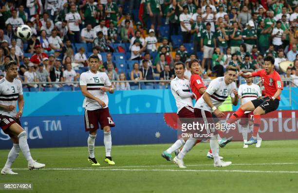 Heungmin Son of Korea Republic scores his team's first goal during the 2018 FIFA World Cup Russia group F match between Korea Republic and Mexico at...