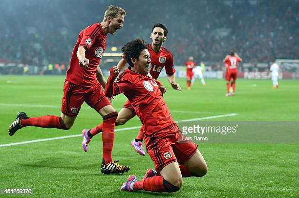 HeungMin Son of Leverkusen celebrates after scoring his teams first goal during the UEFA Champions League Qualifying PlayOffs Round second leg match...