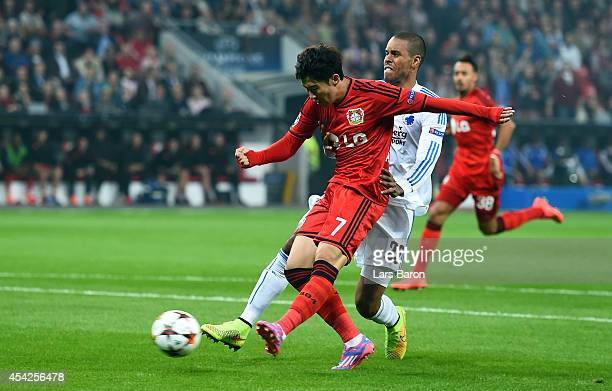 HeungMin Son of Leverkusen scores his teams first goal during the UEFA Champions League Qualifying PlayOffs Round second leg match between Bayer...