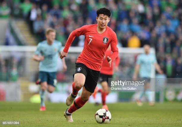 Heungmin Son of South Korea during the international friendly match between Northern Ireland and South Korea at Windsor Park on March 24 2018 in...