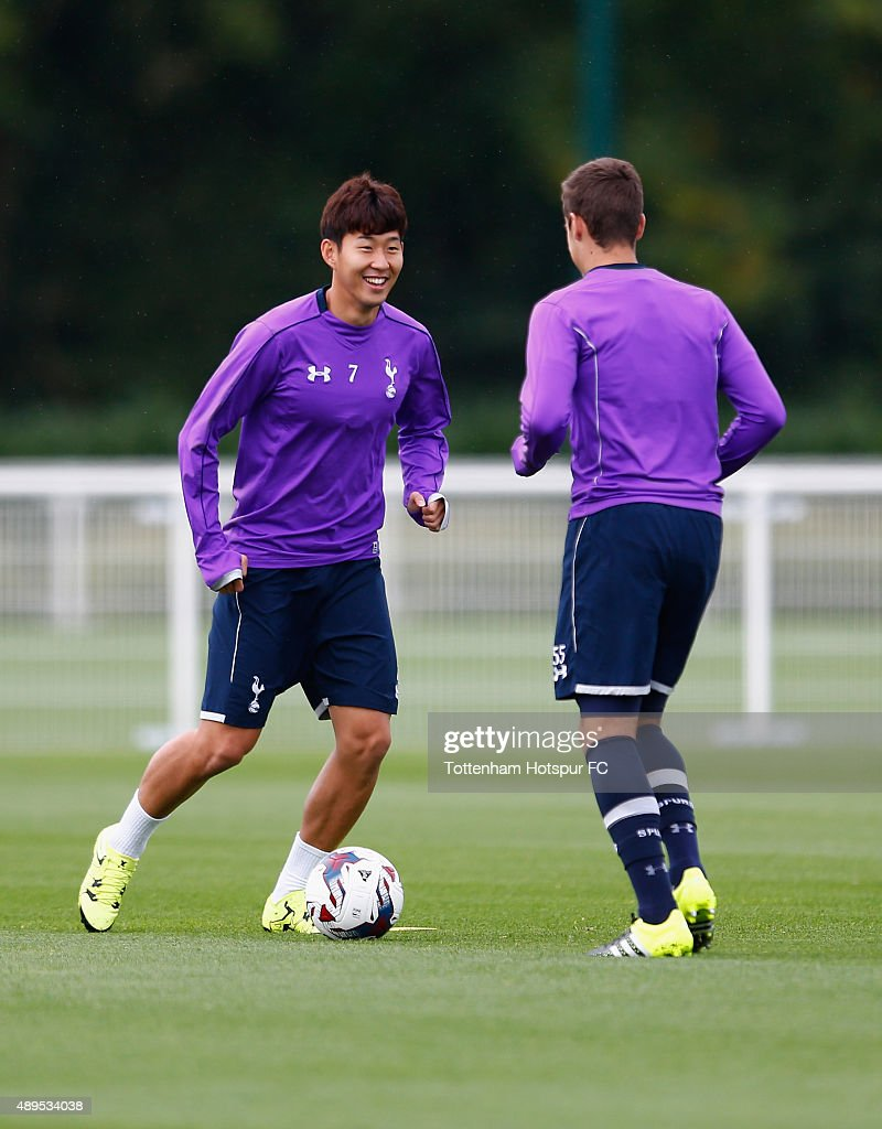 Heung-Min Son of Spurs during Tottenham Hotspur Training Session at Hotspur Way on September 22, 2015 in Enfield, England.