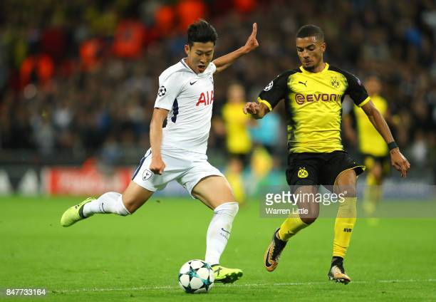 HeungMin Son of Totteham HotspurFC in action during the UEFA Champions League group H match between Tottenham Hotspur and Borussia Dortmund at...