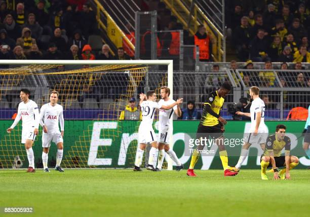HeungMin Son of Tottenham celebrates after scoring his team`s second goal with Christian Eriksen of Tottenham Harry Winks of Tottenham Harry Kane of...