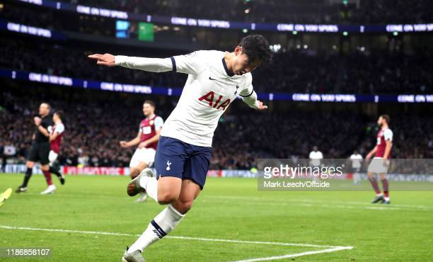 Heung-Min Son of Tottenham celebrates after scoring the third goal during the Premier League match between Tottenham Hotspur and Burnley FC at...
