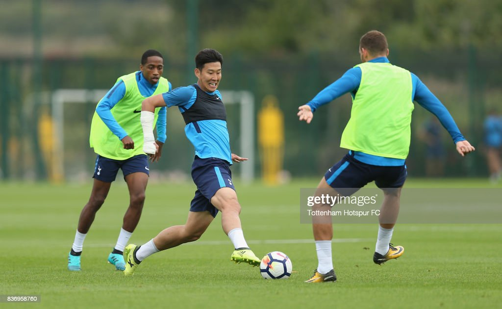 Heung-min Son of Tottenham during a Tottenham Hotspur training session at Tottenham Hotspur Training Centre on August 22, 2017 in Enfield, England.