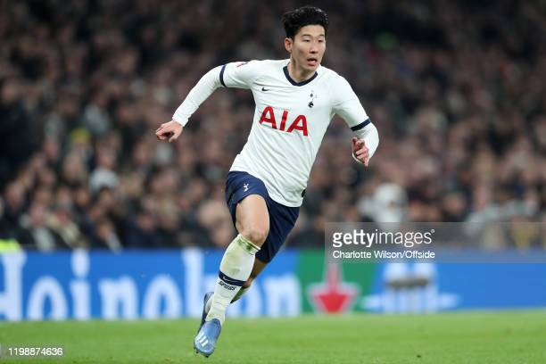 Heung-Min Son of Tottenham during the FA Cup Fourth Round Replay match between Tottenham Hotspur and Southampton at Tottenham Hotspur Stadium on...