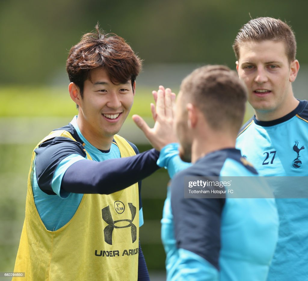 Heung-min Son of Tottenham during the Tottenham Hotspur training session at Tottenham Hotspur Training Centre on May 12, 2017 in Enfield, England.
