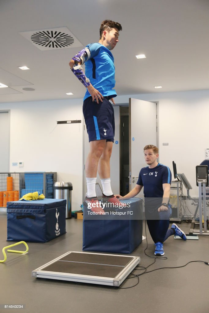 Heung-min Son of Tottenham during the Tottenham Hotspur training session at Tottenham Hotspur Training Centre on July 14, 2017 in Enfield, England.