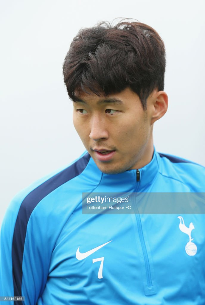 Heung-min Son of Tottenham during the Tottenham Hotspur training session at Tottenham Hotspur Training Centre on September 8, 2017 in Enfield, England.