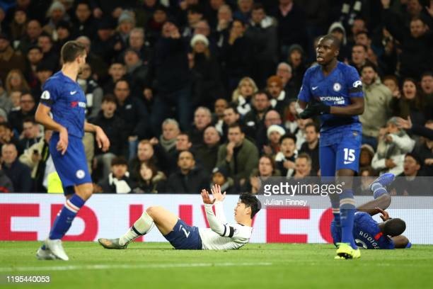 HeungMin Son of Tottenham Hotspur and Antonio Rudiger of Chelsea clash leading to a red card for HeungMin Son of Tottenham Hotspur during the Premier...