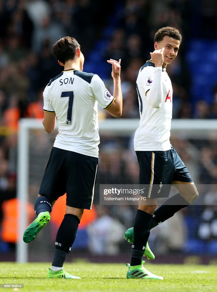 Heung-Min Son of Tottenham Hotspur and Dele Alli of Tottenham Hotspur celebrate after the Premier League match between Tottenham Hotspur and AFC Bournemouth at White Hart Lane on April 15, 2017 in London, England.