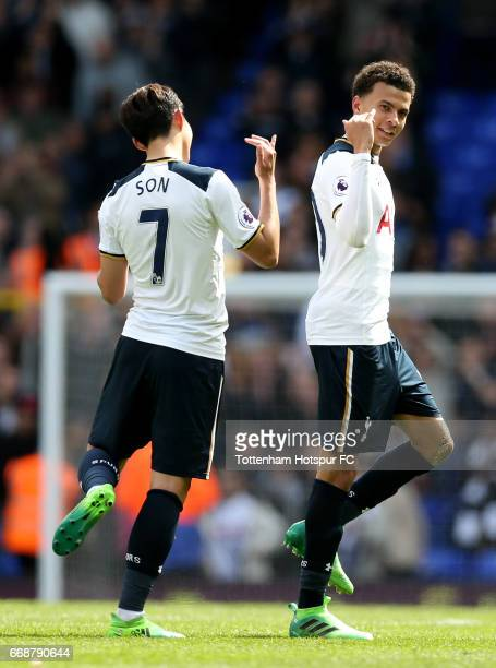 HeungMin Son of Tottenham Hotspur and Dele Alli of Tottenham Hotspur celebrate after the Premier League match between Tottenham Hotspur and AFC...