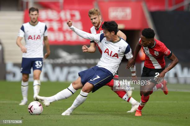 HeungMin Son of Tottenham Hotspur and Kyle WalkerPeters of Southampton during the Premier League match between Southampton and Tottenham Hotspur at...