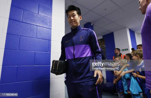 Heung-Min Son of Tottenham Hotspur arrives prior to the Carabao Cup Third Round match between Tottenham Hotspur and Colchester United at JobServe...