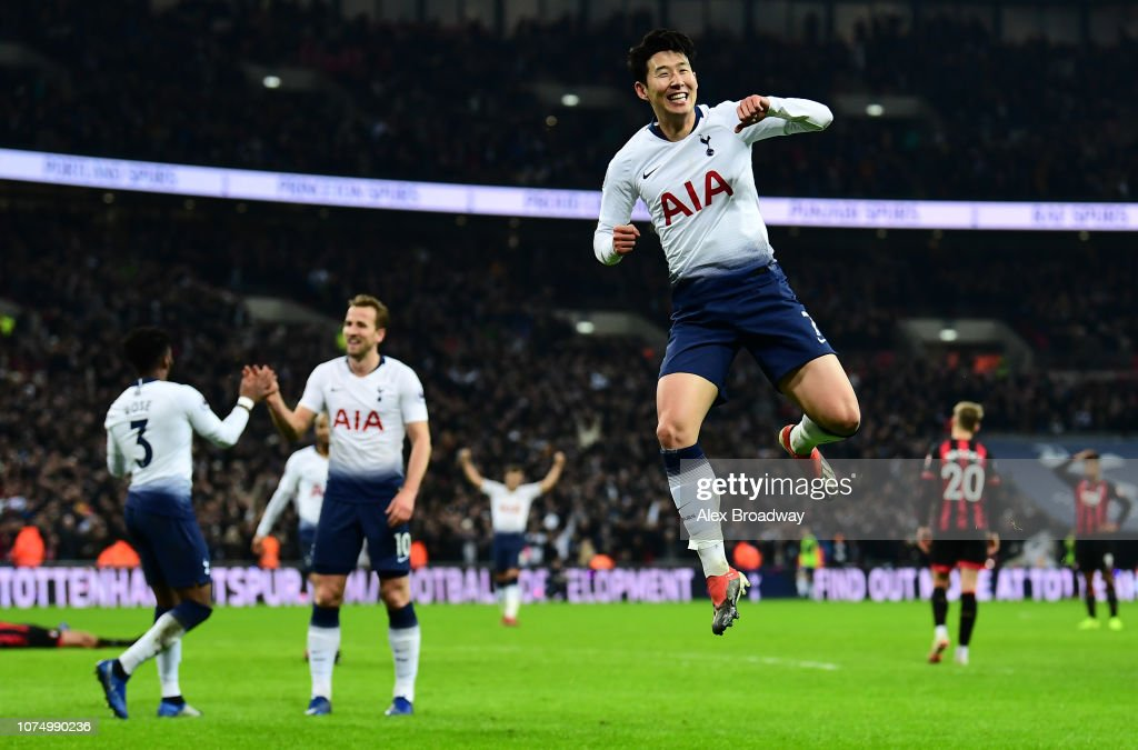 Heung Min Son Of Tottenham Hotspur Celebrates After He Scores His News Photo Getty Images