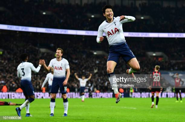 HeungMin Son of Tottenham Hotspur celebrates after he scores his sides 5th goal during the Premier League match between Tottenham Hotspur and AFC...