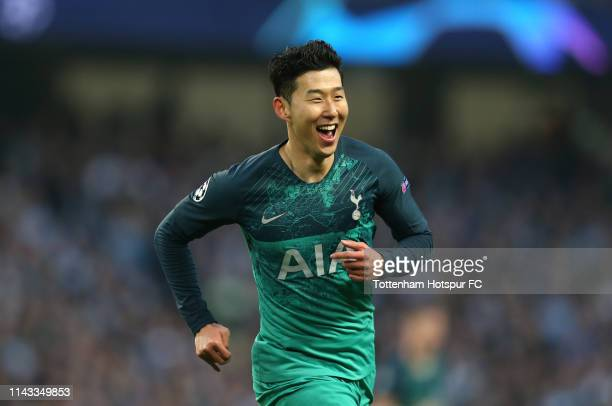 HeungMin Son of Tottenham Hotspur celebrates after he scores his sides first goal during the UEFA Champions League Quarter Final second leg match...