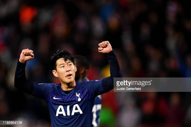 Heung-Min Son of Tottenham Hotspur celebrates after he scores his team's third goal during the UEFA Champions League group B match between Crvena...