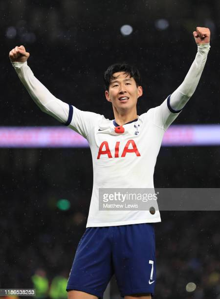 HeungMin Son of Tottenham Hotspur celebrates after he scores his sides first goal during the Premier League match between Tottenham Hotspur and...