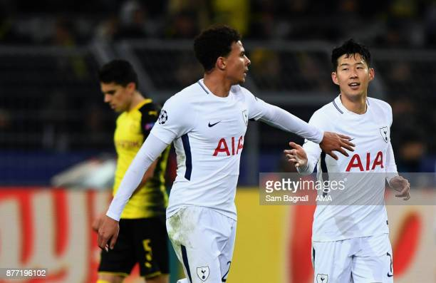 HeungMin Son of Tottenham Hotspur celebrates after scoring a goal to make it 12 during the UEFA Champions League group H match between Borussia...