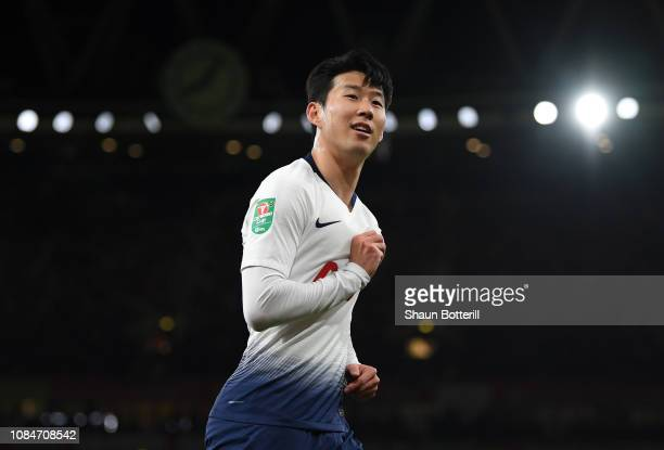 HeungMin Son of Tottenham Hotspur celebrates after scoring during the Carabao Cup Quarter Final match between Arsenal and Tottenham Hotspurat...