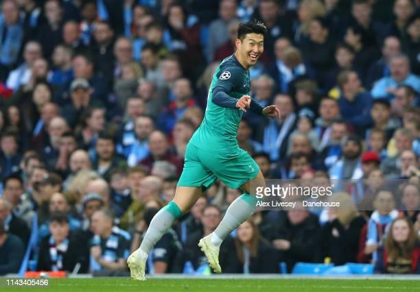 HeungMin Son of Tottenham Hotspur celebrates after scoring his first goal during the UEFA Champions League Quarter Final second leg match between...