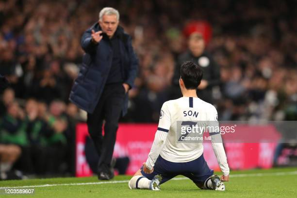 Heung-Min Son of Tottenham Hotspur Celebrates after scoring his sides second goal during the Premier League match between Tottenham Hotspur and...