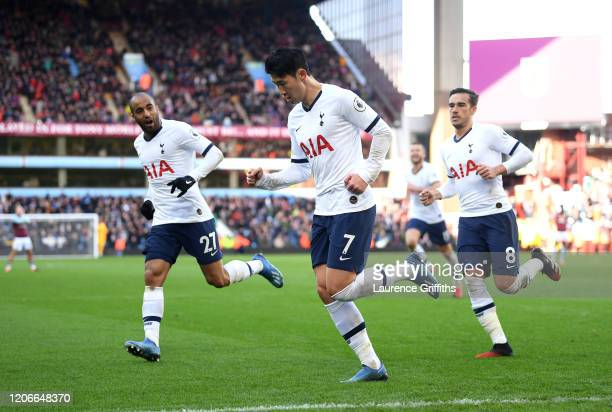 Heung-Min Son of Tottenham Hotspur celebrates after scoring his sides second goal during the Premier League match between Aston Villa and Tottenham...
