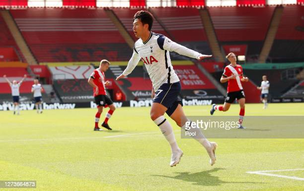 Heung-Min Son of Tottenham Hotspur celebrates after scoring his sides third goal during the Premier League match between Southampton and Tottenham...