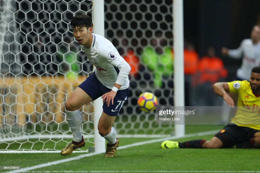 Heung-Min Son of Tottenham Hotspur celebrates after scoring his sides first goal during the Premier League match between Watford and Tottenham Hotspur at Vicarage Road on December 2, 2017 in Watford, England.