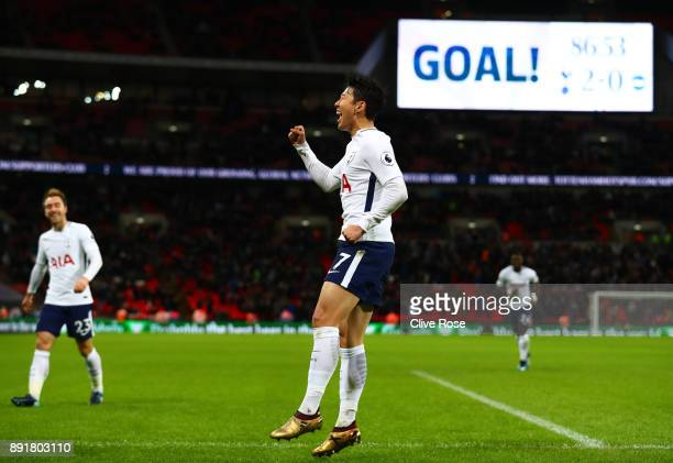 HeungMin Son of Tottenham Hotspur celebrates after scoring his sides second goal during the Premier League match between Tottenham Hotspur and...
