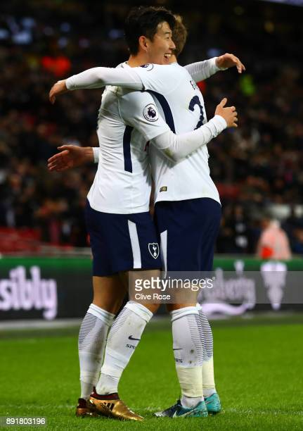 HeungMin Son of Tottenham Hotspur celebrates after scoring his sides second goal with Christian Eriksen of Tottenham Hotspur during the Premier...
