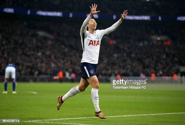 HeungMin Son of Tottenham Hotspur celebrates after scoring his sides first goal during the Premier League match between Tottenham Hotspur and Everton...