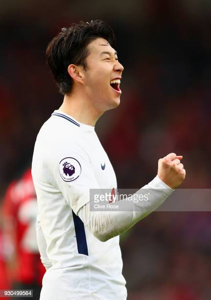 HeungMin Son of Tottenham Hotspur celebrates after scoring his sides second goal during the Premier League match between AFC Bournemouth and...
