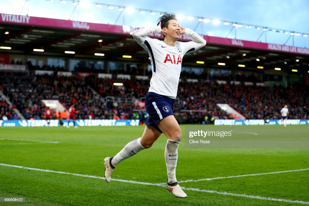 Heung-Min Son of Tottenham Hotspur celebrates after scoring his sides third goal during the Premier League match between AFC Bournemouth and Tottenham Hotspur at Vitality Stadium on March 11, 2018 in Bournemouth, England.