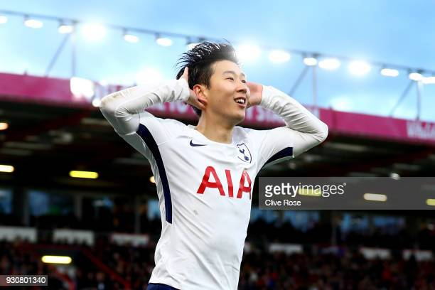 HeungMin Son of Tottenham Hotspur celebrates after scoring his sides third goal during the Premier League match between AFC Bournemouth and Tottenham...