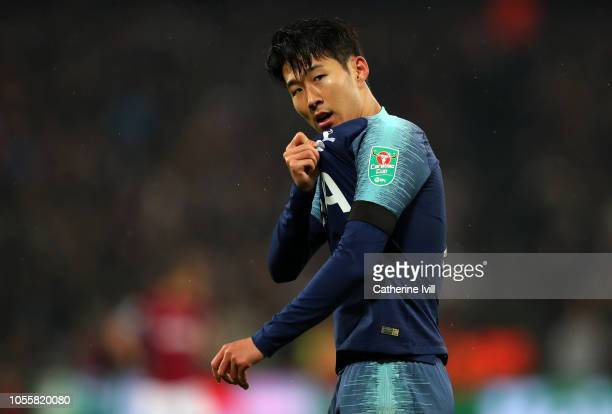 HeungMin Son of Tottenham Hotspur celebrates after scoring his team's second goal during the Carabao Cup Fourth Round match between West Ham United...
