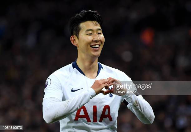 HeungMin Son of Tottenham Hotspur celebrates after scoring his team's third goal during the Premier League match between Tottenham Hotspur and...